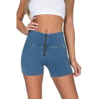 Hugz Jeans Light Blue Denim High Waist Short